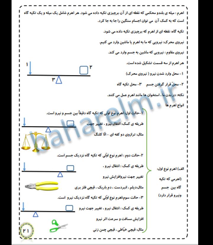 نمونه صفحات جزوه علوم پنجم ابتدایی